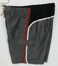 Speedo men's swim trunks size large gray black red drawstring liner side pockets