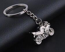 3D Motorcycle MotorBike KeyRing Chain Silver Keychain Pendant Gift - UK SELLER