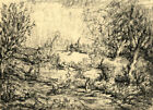 Harold Hope Read, Wooded Landscape with Figures –Original 1920s charcoal drawing