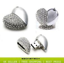 SILVER DIAMOND HEART 8GB NOVELTY USB FLASH DRIVE MEMORY STICK GIFT *WITH CHAIN