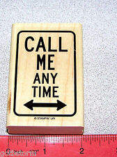 Street Sign Rubber Stamp Call Me Any Time Single by Stampin Up It's a Sign