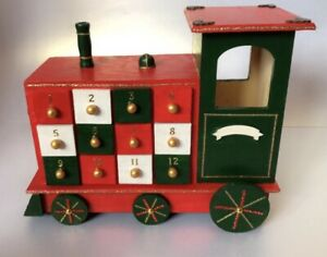 Christmas Wooden Train Advent Calendar Decoration With Reusable 24 Opening Doors