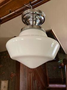 """1920's Flush Mount 12"""" School House Light, Chromed Base, Ready 2 Use, Free S/H"""
