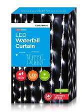 Waterfall Icicle Christmas Lights LED 240pc Cool White Flashing 10m Cable 1.5x2m