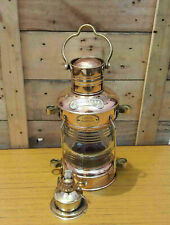 "Brass & Copper ANCHOR OIL LAMP Leeds Burton 14"" Nautical Maritime Ship Lantern"