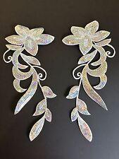 Mirror pair silver hologram sequin floral applique trim tutu dance stage costume