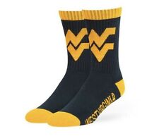 West Virginia Mountaineers Socks '47 Brand Duster Large Navy Men's 9-13 NWT New