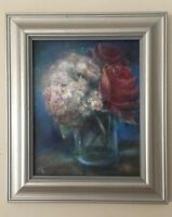 Original Oil Painting Hydrangea And Roses Impressionism Canvas 8x10""