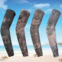Cycling Sleeve Biker Tattoo Cover Arm Warmer Outdoor Sunscreen Protector Random