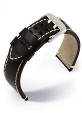 Eulit Uhrenarmband Armband Pilot Leder Schwarz Doppeldorn 24 mm Stegbreite