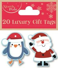 20 LUXURY GIFT TAGS CHRISTMAS PENGUIN & SANTA XMAS GIFT WRAPPING PRESENT GLITTER