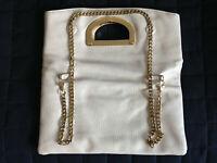 Dune Handbag shoulder evening bag beige Leather 4 magnetic gold pads strap MRP99