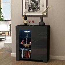 Modern Black Sideboard Cabinet Cupboard Buffets High Gloss Fronts Door Matt Body