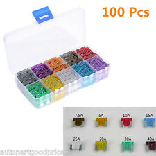 100pc Assorted Medium Standard Car Auto Truck Fuse Box 5 7.5 10 15 20 25 30 Amp