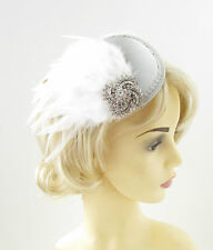White Silver Feather Fascinator Headpiece Races Wedding Diamante Hair Clip 1252