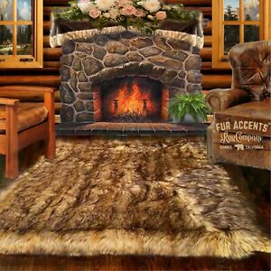 Coyote, Tan Wolf Shag, Faux Fur Area Rug, Rectangle, Room Carpet, Bonded Suede