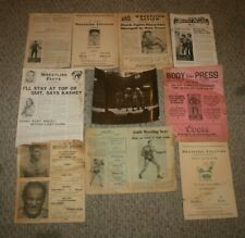 Lot of Vintage Wrestling Facts, Programs, and Newspapers 1936-1954