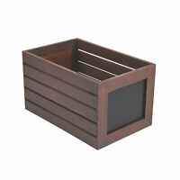 Large Stained Wood Crate With Chalkboard Label - Home Decor - 1 Piece