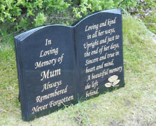 MEMORIAL STONE HEADSTONE GRAVE PLAQUE PERSONALISED STONE GRAVESTONE BOOK DESIGN