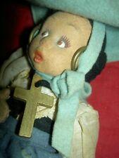 Lovely antique felt, labeled Lenci, mascotte girl doll w/cross, very good cond.