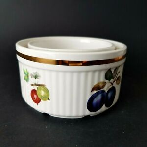 """Two Alfred Meakin Evesham Gold 3.5"""" & 4.5"""" Ribbed Souffle Dishes Fruits :E4"""