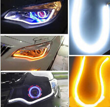 2PC x60cm White & Yellow FLEXIBLE AUDI Tube Car Bike LED Strip DAYTIME LIGHT DRL