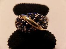 10K YELLOW GOLD BLUE STONES SIZE 10 RING PRANDA NORTH AMERICA SAPPHIRES WAS $700