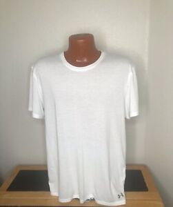 Mens Under Armour Heat Gear S/S Athletic T-Shirt Size Extra Large XL - White
