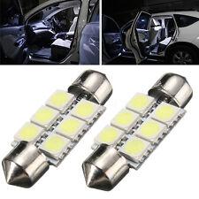 2x Bombillas 6 LED 5050 SMD C5W Festoon 36mm Matricula interior lectura Blanco