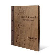 Personalisiertes Stammbuch Okoume Holz Leder Stammbuchformat  - Liebesbaum
