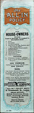 Eagle Star & British Dominions All-In Policy for House Owners Vintage Bookmark