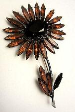 "Rare Vintage 3"" Signed Schreiner New York Amber Black Glass Flower Brooch Pin A6"