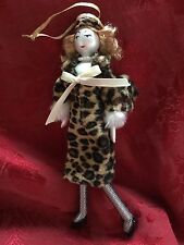 NEW Exceptional TALL Glass LADIES With ELEGANCE Leopard COAT Christmas ORNAMENT