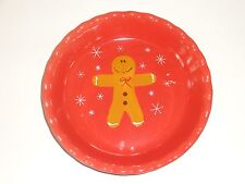 "Gingerbread Man Holiday Pie Plate Dish 10"" x 2"" Ceramic"