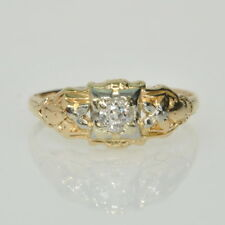 European Diamond Right Hand Estate Ring Vintage Antique 14k Yellow Gold 1/8Ct