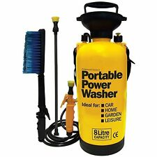 Portable, Pump Up, Car Power Washer, Pressure Sprayer with Brush + Attachments