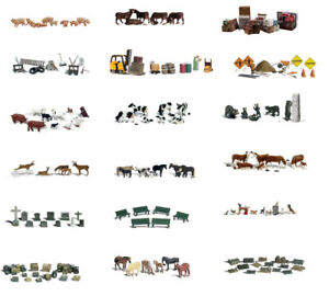 Hand-painted N scale animals & accessories sets Woodland Scenics