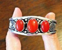 """CORAL red 3 stones 925 STERLING SILVER BRACELET CUFF Bangle 27gr adjust 7-8.5 /"""""""