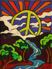 Hippie Art Peace sign Sun Valley EBSQ Loberg Original retro painting landscape