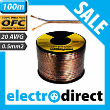100m 20AWG (0.5mm2) Speaker Cable Roll 100% Pure OFC - 20 Guage Wire Audio Cord