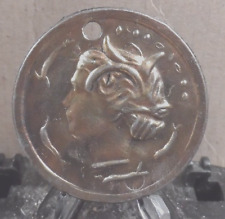 PREOWNED DRILLED FOR NECKLACE ROMAN GLADIATOR COMMEMORATIVE MEDALLION(42717)