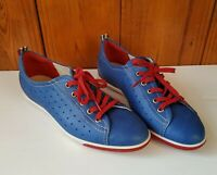 ECCO Women's Comfort Shoes Blue & Red Leather Sneakers Size 40 US 10