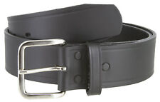 "Nickel Shinny Buckle Top Grain Leather Black Belt 1 3/4"" Wide"