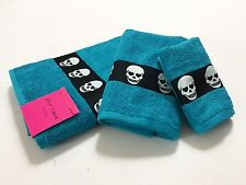 NWT Betsey Johnson 3 Towels Bath Shower Hand Washcloth Blue Totally Skulls Heart