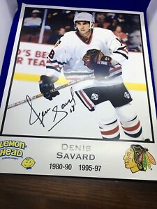 "DENIS SAVARD ""HOF 2000"" Auto Signed 8x10 Photo Chicago Blackhawks NHL Hockey"