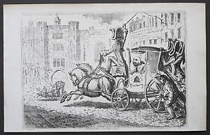 c1850 James Gillray Malagrida, driving post Antique Print Original Plates