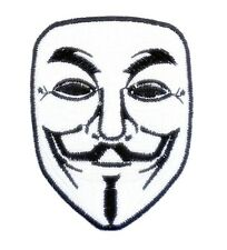 WHITE V FOR VENDETTA ANONYMOUS GUY FAWKES MASK SEW IRON ON PATCHES FREE Shipping