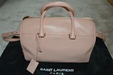 Saint Laurent 12 Hour Nude Light Pink Leather Zip Duffle Shoulder Strap Handbag