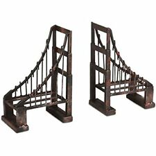 Suspension Bridge Bookends Distressed Iron Metal San Francisco Style Home Decor