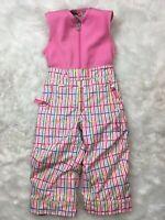 Spyder Girls Bright Pink Striped Overalls Ski Board Snow Bibs Snow Pants Size 3